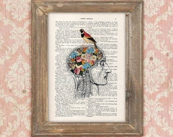 Anatomy Brain Flower Anatomy Print, Human Anatomy art science wall decor Vintage Book Dictionary Gothic  Get well soon Whimsical Head Bird