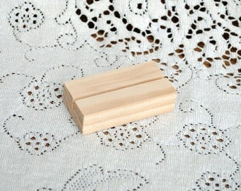Real Wood Wedding -  Wood Block Place Card Holder