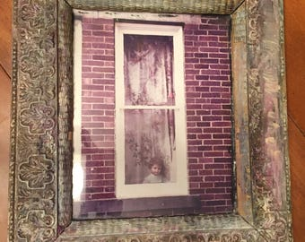 """Original photograph with painted frame """"Provocation II"""" by the late NC Folk Artist WIILI"""