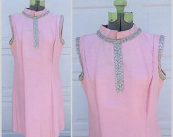 60's Vintage Pink Shift Evening Dress