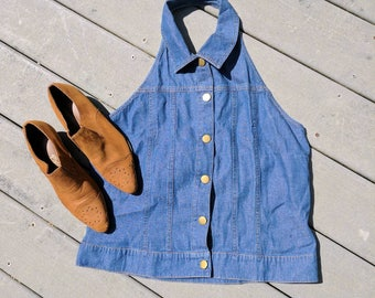 90's Vintage Denim Halter Vest