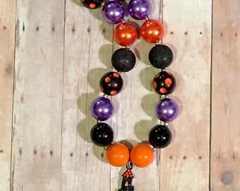 20mm Bubblegum Beaded Necklace Halloween Haunted House Black Orange Purple