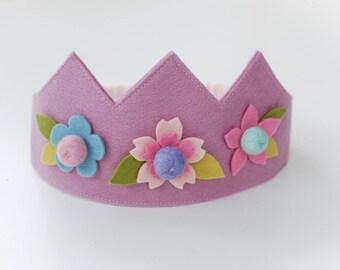 Wool felt crown, Flower crown, Birthday crown, Fairy crown