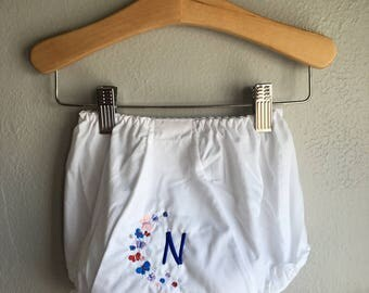 Personalized Butterflies and a Letter on White Baby Bloomers Size 0-6 Months to 4T