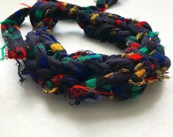Bold stripe frayed necklace