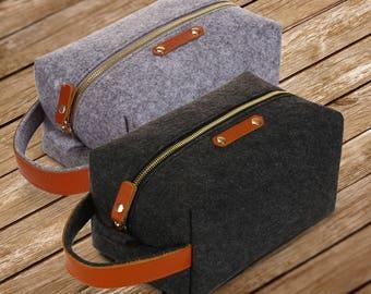 MERKIT Wool Felt & Genuine Leather Toiletry Makeup Shaving Dopp Kit Travel Bag