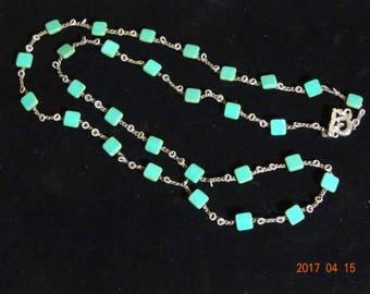 Turquoise glass bead crocheted necklace