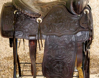 Western Saddle all hand tooled with breast plate