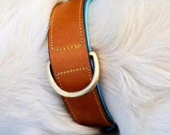 Tan/Teal Hand Painted Dog Collar, You Choose Image!