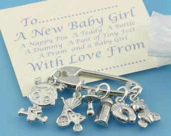 New Baby Girl Charms for Christening Gift and Baby Shower Keepsake, Naming Day Gift for a Girl