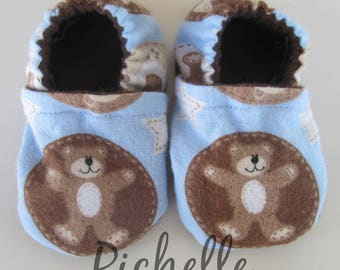 Bear Baby Shoes, Blue Brown Baby Shoes, Soft Sole Baby Boy Shoes, Baby Shower Gift