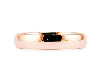 4mm Solid 14k Rose Gold Plain Classic Shiny Comfort Fit Wedding Band // Simple Men's Women's Ring // All Sizes // High Polish Finish