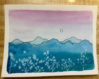 Watercolor Mountain and Aspen Trees, Sunset