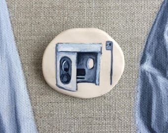 hand painted - wearable art - Canberra Bus Stop - brooch / pin