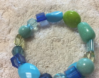 Turquoise blue and lime green memory wire bracelet
