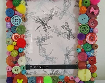 """Hand decorated bright multi coloured photo frame 7"""" x 5"""""""