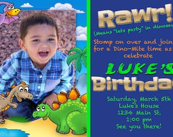 Dinosaur Birthday Invitation with Photo