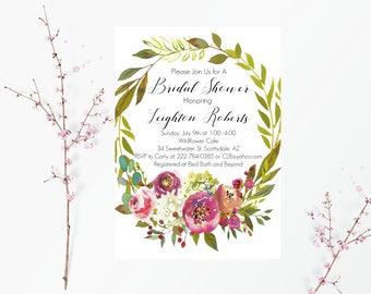 Spring Floral Bridal Shower Invitation,Bridal Shower Wreath Invitation, Rustic Bridal Shower Invitation, PinkHydranga Floral Wreath Wedding