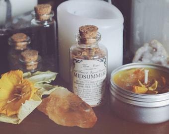 Midsummer Incense & Candle Set (Summer Solstice, Litha, Solar Energy, Sabbat Celebration, Wicca, Pagan, Witch, Vegan)