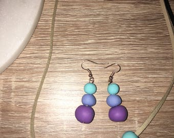 Clay bead earring/necklace set