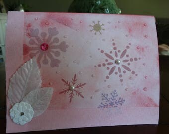 Hand painted Snowflake card
