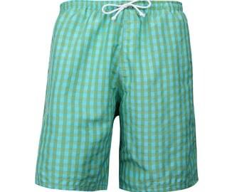 Puuper men's bath Hort Leander junior green blue checkered