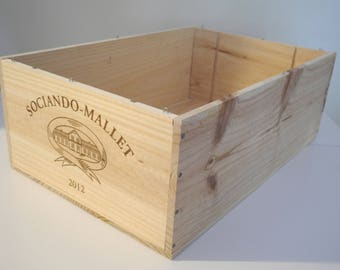 "French vintage wooden wine crate ""Sociando Mallet"""