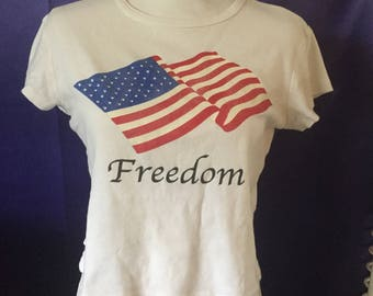 vintage Belly Shirt Crop Top No Boundries Juniors Large 11/13 Flag Freedom 4th July Independence Day