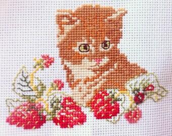 Strawberry Yellow Cat Kitten Embroidery Cross Stitch Needlepoint