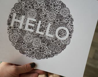 Hello Floral Cluster Printable