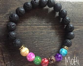 Black Lava Stone & Chakra Healing Bracelet