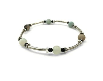 OCEANIDE - Elastic beaded bracelet with semi-precious stones
