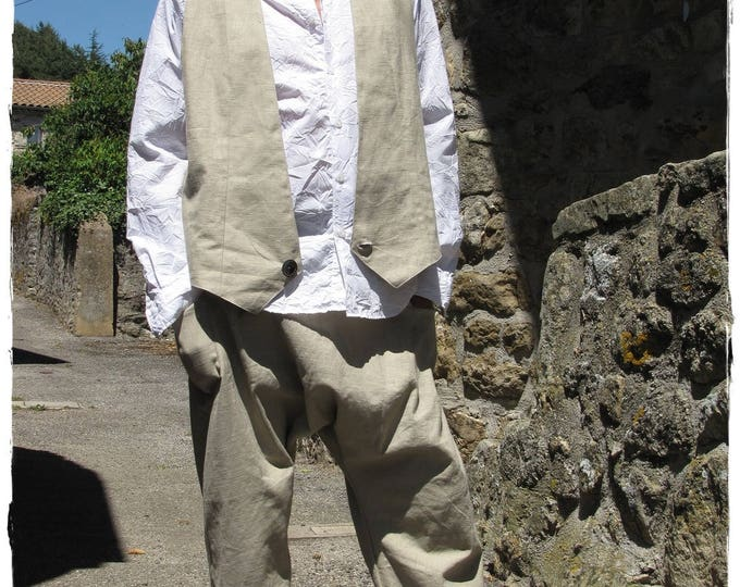 Two-piece costume for men - Harem pants and coordinated linen vest