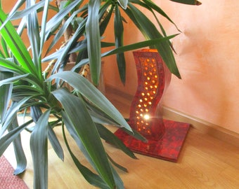 Red orange shaded floor lamp, floor lamp, table lamp made of ceramic, Tower I, in pierced plate technology