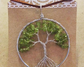 Wire wrap tree pendant necklace