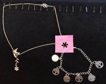tree of life dove tibetan silver jewelry set