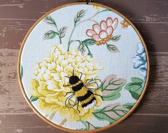 Hand Embroidered Bee on Vintage 1982 Fabric, 8 Inch Hoop, Embroidery, Embroidery art
