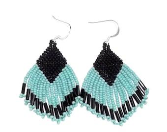Turquoise & Black Glass Bead Fringe Dangle Earrings