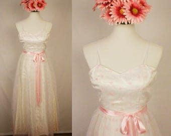 Vintage 1970s Pink and White Chiffon Embroidered Dress w/ Ribbon Waist Tie