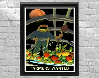 NASA Promotional Poster | Farmers Wanted | Retro Space Travel Poster | Exoplanet Art