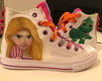 CUSTOM TANGLED (Rapunzel + Pascal) Converse Loopholes Shoes (Chuck Taylor)