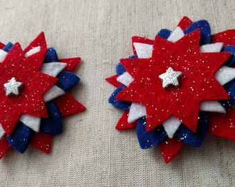 Fourth of July Flower Hair Barrettes