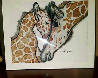 Mama giraffe and son 8×10, standing photo