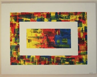 abstract painting modern art bright colourful hand painted vibrant canvas