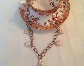 Bronze Necklsce with Coin Pearl Drops