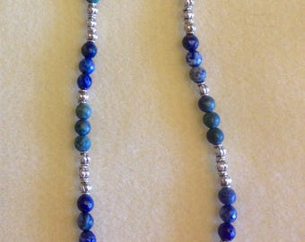 Lapis & Silver Beaded Necklace