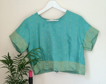 Handmade crop top made from upcycled vintage Indian sari material