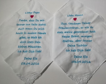 Wedding joy handkerchief embroidered handkerchief