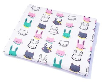 Bunny Cat KNITWEAR Fabric, Cotton Knitwear Fabric, Knitwear Fabric by the HALF YARD, Cotton, Colourful Bunny Rabbit Cat Kitty fabric