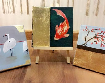 Set of 3 hand painted oriental inspired wall painting.